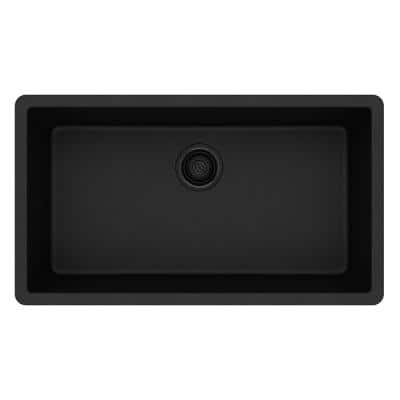 Quartz Classic Black Quartz 33 in. Single Bowl Undermount Kitchen Sink
