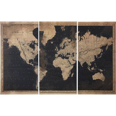 """""""Antiquated World Map"""" Canvas Set 35 in. x 54 in."""