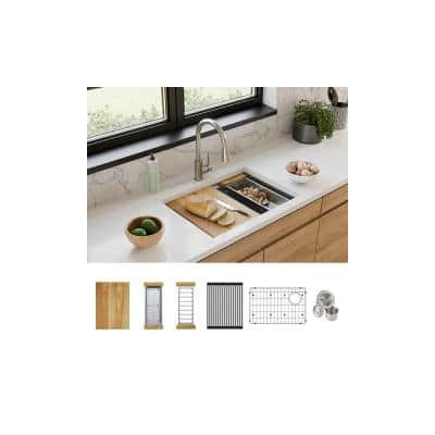 Crosstown Stainless Steel 25-1/2 in. Single Bowl Undermount Kitchen Sink Kit with Workstation