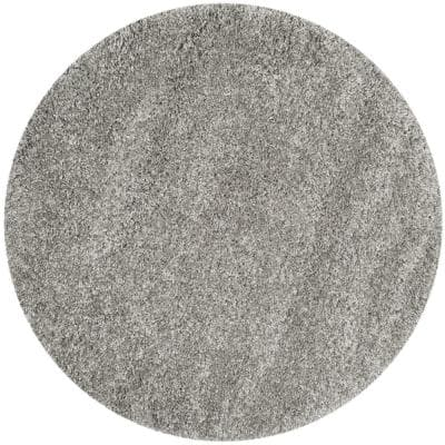 California Shag Silver 9 ft. x 9 ft. Round Area Rug