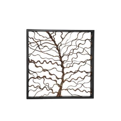 48 in. x 48 in. Brown Teak Wood Rustic Floral Wall Decor