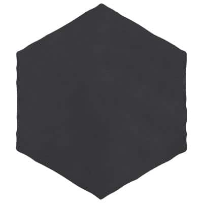 Palm Hex Black 6 in. x 7 in. Porcelain Floor and Wall Tile (2.97 sq. ft./Case)