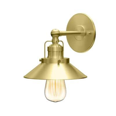 Modern Farmhouse Retro 1-Light Brushed Brass Metal Sconce