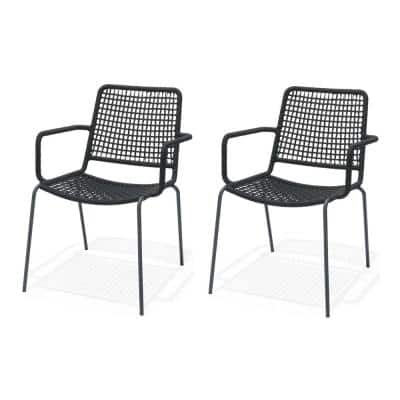 Rhine Black Stacking Metal Outdor Dining Chair