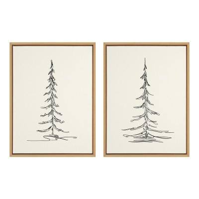 Sylvie Minimalist Evergreen Trees Sketch 1 and 2 24 in. x 18 in. by The Creative Bunch Studio Framed Canvas Wall Art