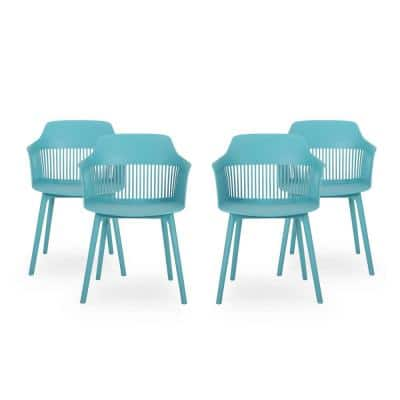 Dahlia Teal Plastic Outdoor Dining Chair (4-Pack)