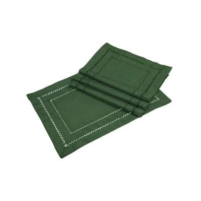 13 in. x 19 in. Handmade Double Hemstitch Easy Care Placemat in Pine (4-Set)
