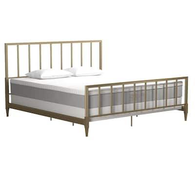Blair Brass Gold King Size Metal Bed