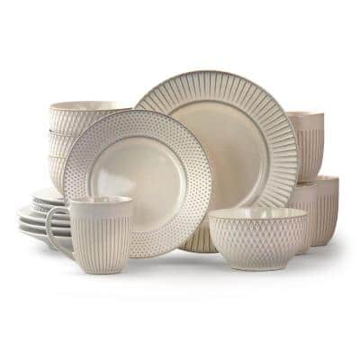Market Finds 16-Piece Contemporary White Stoneware Dinnerware Set (Service for 4)