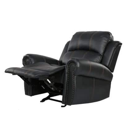 Gavin 39 in. Width Big and Tall Black Faux Leather Nailhead Trim 3 Position Recliner