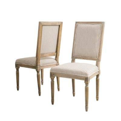 Madison Dark Coffee Stripe Fabric Weathered Oak Dining Chair (Set of 2)