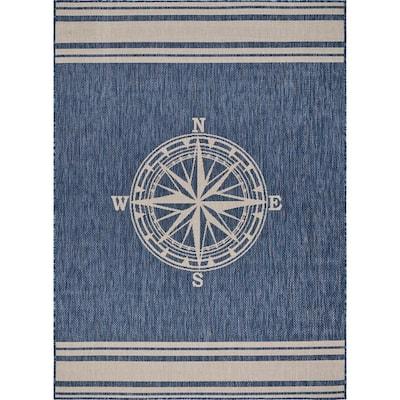 Nautical Navy Blue/White 7 ft. 6 in. x 9 ft. 5 in. Navigation Polypropylene Indoor/Outdoor Area Rug