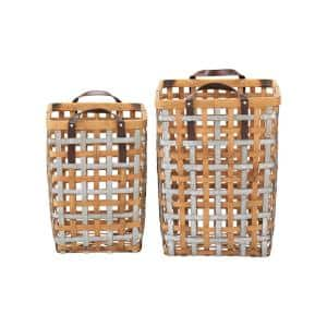 Square Galvanized Metal and Natural Bamboo Woven Decorative Basket with Handles (Set of 2)