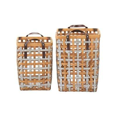 2-Set Home Decorators Square Galvanized Metal and Natural Bamboo Basket