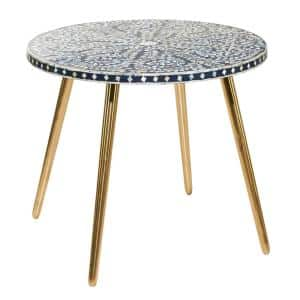 30 in. x 21 in. Round Black Wood Coffee Table with Irridescent White Shell Patterned Inlay and Gold Metal Base