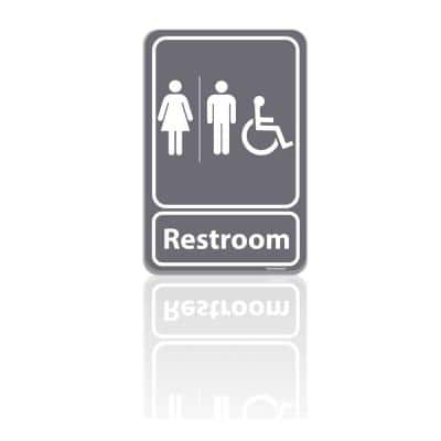 5.5 in. x 8 in. Unisex Men and Women Restroom Bathroom With ADA Compliant Handicap Symbol Gray Plastic Sign