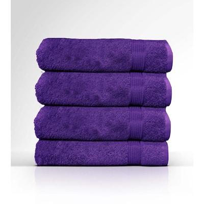 4-Piece Purple Geometric 100% Cotton Bath Towel Set