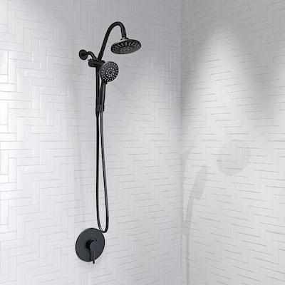 Belanger 2-Spray 6 in. Dual Shower Head and Handheld Shower Head with Low Flow in Matte Black