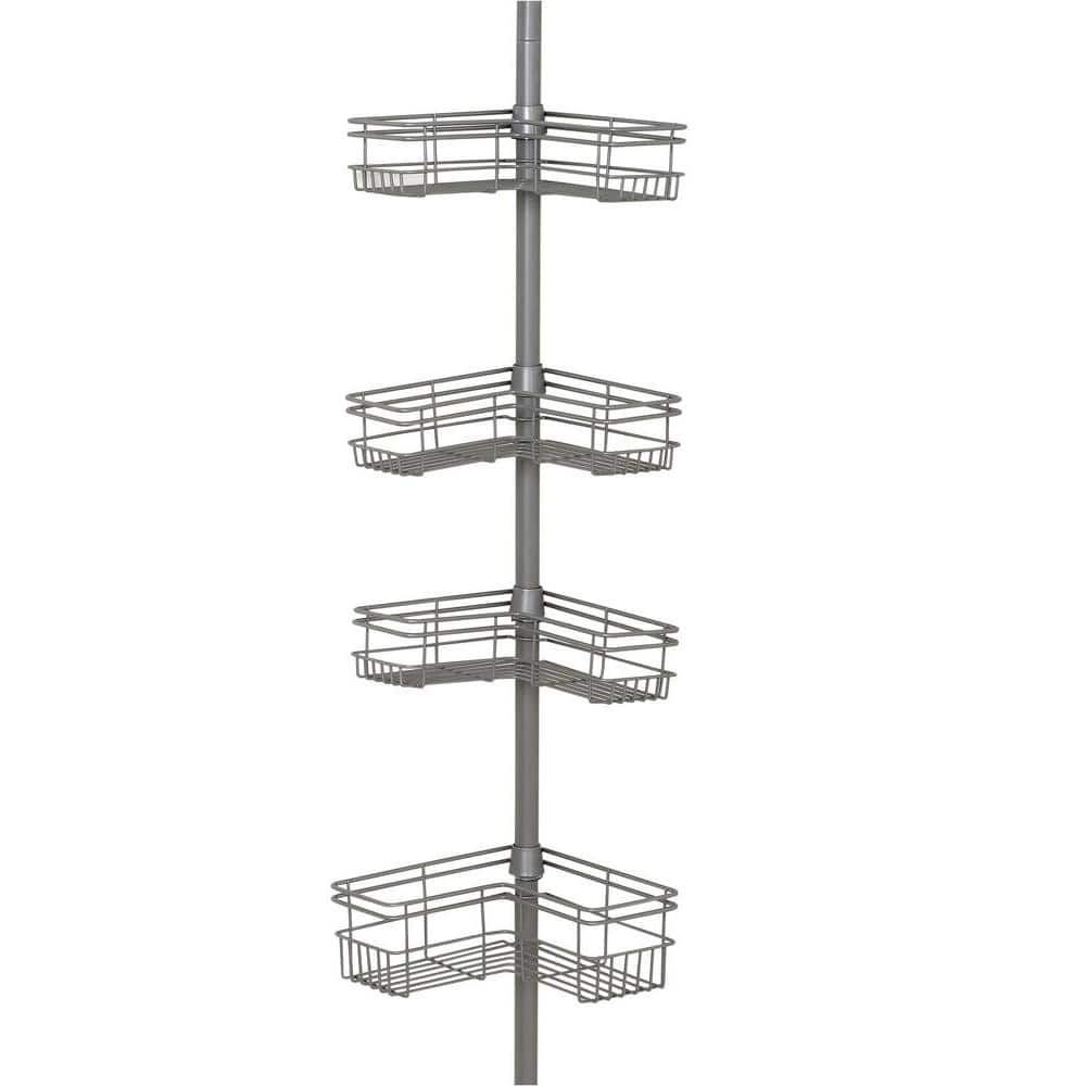 Glacier Bay L Style Tension Corner Pole Caddy In Satin Nickel With 4 Shelves 2130nnhd The Home Depot