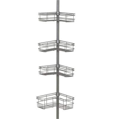"""""""L"""" Style Tension Corner Pole Caddy in Satin Nickel with 4 Shelves"""