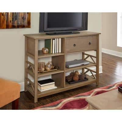 Greenville 50 in. Rustic Gray Driftwood TV Stand with 1 Drawer Fits TVs Up to 40 in. with Cable Management
