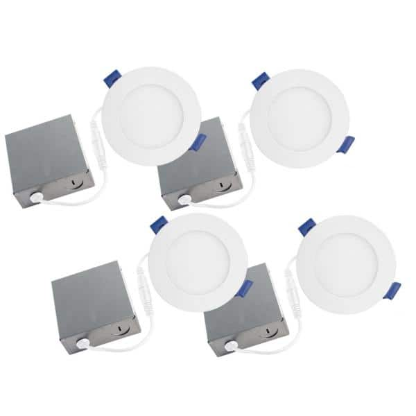 Bazz Slim Disk 4 In 3000k Matte White New Construction Remodel Recessed Integrated Led Fixture Kit For 4 Pack Sldskb4w4 The Home Depot