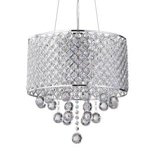4-Light Chrome Round Beaded Drum Chandelier with Crystal Hanging