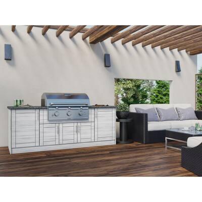 Sanibel Whitewash 12-Piece 91.25 in. x 34.5 in. x 28 in. Outdoor Kitchen Cabinet Set