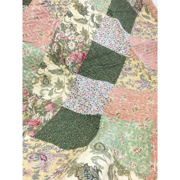 Bermuda floral Cyrillus Paris vintage French Size Cotton Pockets Imrim\u00e9 English garden pastel green pink-blush lilac size LXL