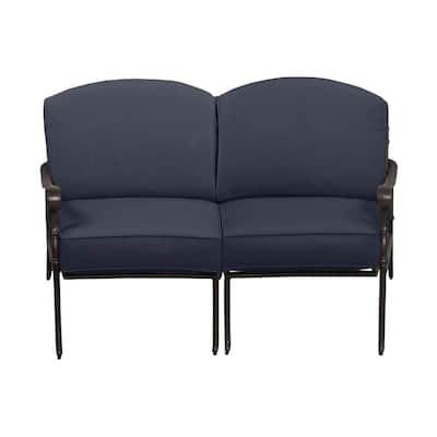 Edington Bronze Aluminum Outdoor Patio Loveseat with Standard Sky Blue Cushions