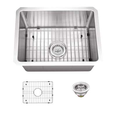 16 Gauge Stainless Steel 15 in. Undermount Radius Bar Sink with Grid and Drain Assembly