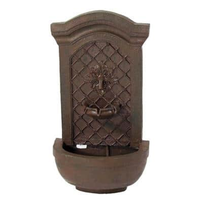 Rosette Resin Weathered Iron Solar with Battery Backup Outdoor Wall Fountain
