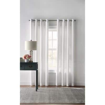 White Solid Grommet Room Darkening Curtain - 42 in. W x 95 in. L