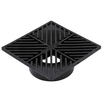 6 in. Plastic Square Drainage Grate in Black