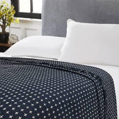 Melbourne Dot Navy Blue Cotton Blanket