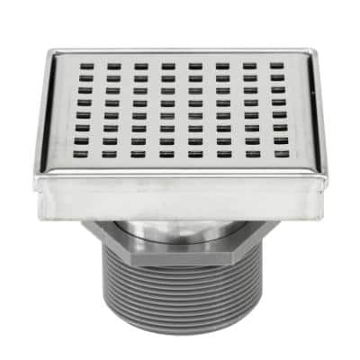 Shower Square Linear Drain 4 in. Brushed 304 Stainless Steel Square Checker Pattern Grate
