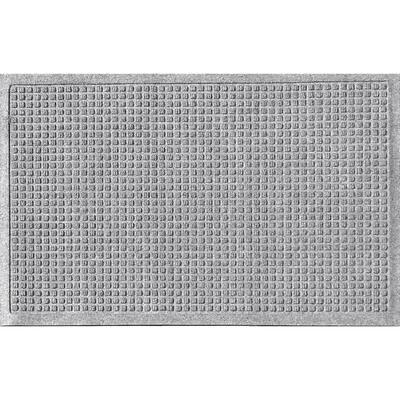 Aqua Shield Squares 18 in. x 27 in. PET Polyester Door Mat Medium Gray