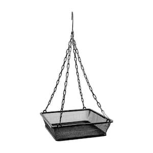 Black Hanging Bird Feeder Mesh Seed Tray