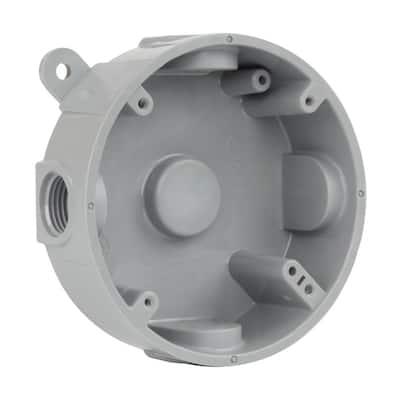 1/2 in. Gray 5-Holes 4 in. Round Non-Metallic Weatherproof Box