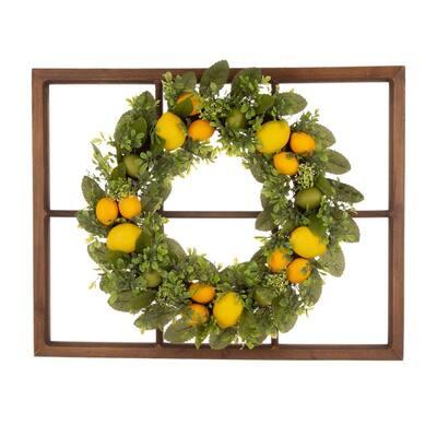 28 in. Wooden Window Frame with 22 in. Greenery Lemon Wreath