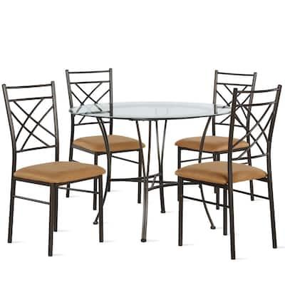 Odessa 5-Piece Glass Top Bronze and Dark Beige Dining Set