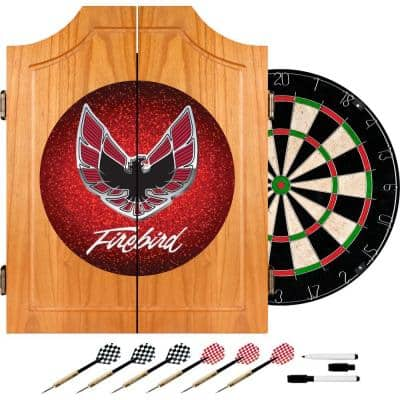 Pontiac Firebird Red Wood Finish Dart Cabinet Set