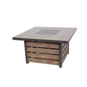 Summerfield 44 in. x 24.5 in. Square Steel Propane Fire Pit with Wood-Look Tile Top