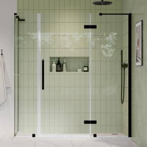 Tampa 70-13/16 in. W x 72 in. H Pivot Frameless Corner Shower Enclosure with Shower Door in Oil Rubbed Bronze