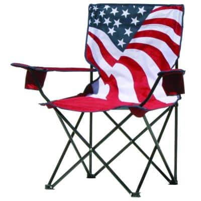 American Flag Pattern Folding Patio Quad Chair