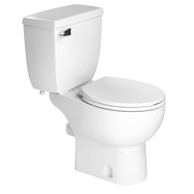 2-Piece 1.28 GPF Single Flush Round Toilet in White