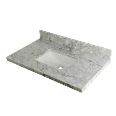 Templeton 36 in. x 22 in. Carrara Marble Vanity Top with Rectangular Sink in Carrara Marble