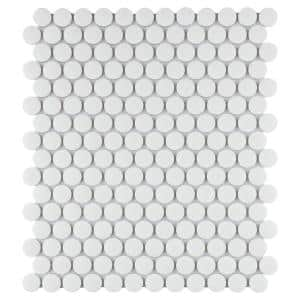 Gotham Penny Round White 9-3/4 in. x 11-1/2 in. Porcelain Mosaic (7.97 sq. ft. /Case)
