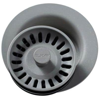 Polymer Disposer Fitting for 3-1/2 in. Sink Drain Opening in Greystone