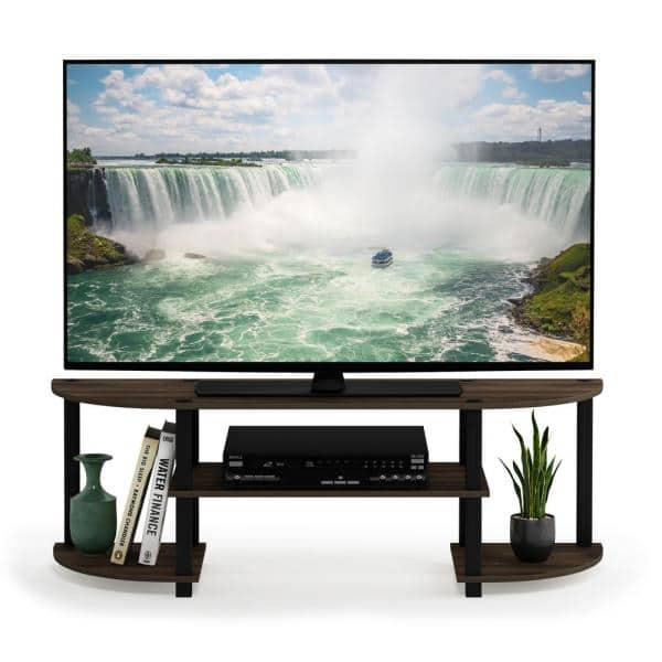 Furinno Turn N Tube 47 In Columbia Walnut Wood Tv Stand Fits Tvs Up To 42 In With Open Storage 11058cwn Bk The Home Depot